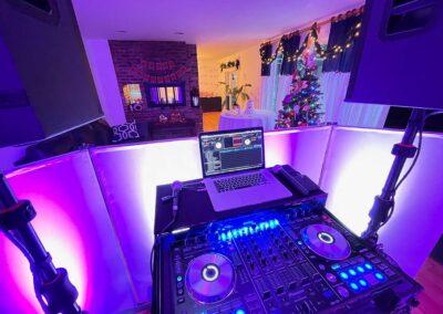 Maggie & Stephen's Wedding DJ Booth Set Up